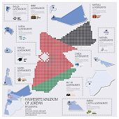 Dot And Flag Map Of Hashemite Kingdom Of Jordan Infographic