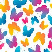 Seamless Pattern With Stylized Butterflies.
