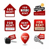 For rent signs, real estate icons, labels