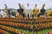 Rooster statuettes at the monument to the King Naresuan the Great in Suphan Buri, Thailand.
