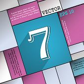 pic of number 7  - number seven icon symbol Flat modern web design with long shadow and space for your text - JPG