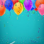 Celebration background template with konfetti, colorful ribbons and balloons