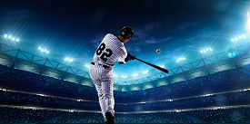 picture of bat  - Professional baseball players on the grand arena in night - JPG