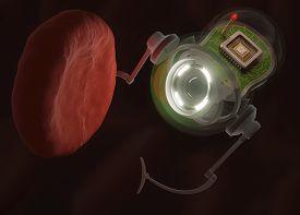 image of hemoglobin  - Nanobot looking at a hemoglobin with possible virus infection - JPG