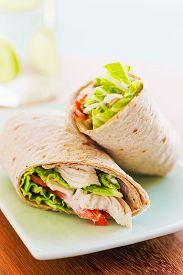 foto of sandwich wrap  - Chicken Wrap Sandwich With Cabbage and Tomatoes - JPG