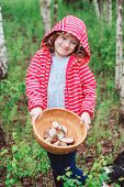 stock photo of gathering  - cute child girl gathering wild edible mushrooms in the forest - JPG