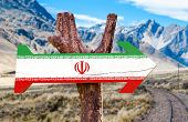 picture of tehran  - Iran Flag wooden sign with desert road background - JPG