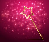 picture of sorcery  - Golden magic wand on pink sparkle background - JPG