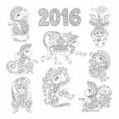 foto of chinese zodiac  - set of line art authentic decorative monkey  - JPG