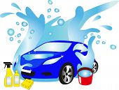 picture of car wash  - The car in water flow - JPG