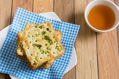 picture of flavor  - Stack of salty vegetable flavored crackers for tea break - JPG