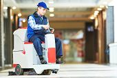 picture of supermarket  - Floor care and cleaning services with washing machine in supermarket shop store - JPG