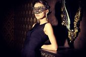 pic of masquerade  - Beautiful mysterious stranger girl in venetian mask - JPG