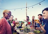 picture of beach party  - Beach Summer Dinner Party Celebration Concept - JPG