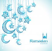 pic of blue moon  - Ramadan Kareem celebration greeting card decorated with blue moons and stars on white background - JPG