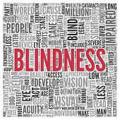pic of blind man  - Close up BLINDNESS Text at the Center of Word Tag Cloud on White Background - JPG