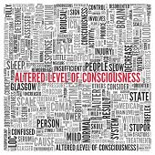 image of aroused  - Close up ALTERED LEVEL OF CONSCIOUSNESS Text at the Center of Word Tag Cloud on White Background - JPG