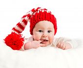 foto of christmas baby  - Christmas photo baby boy on a white background - JPG