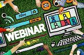 stock photo of seminars  - Webinar Online Seminar Global Communications Concept - JPG