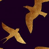 pic of swallow  - Creative design with golden silhouettes of a seagull and swallow - JPG