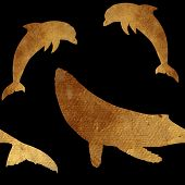stock photo of dolphin  - Creative design with golden silhouettes of a whale and dolphin - JPG