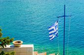 picture of greek  - The Cross and the Greek flag on the background of the sea - JPG
