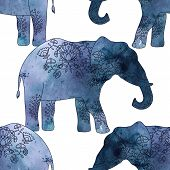 picture of indian elephant  - Seamless pattern with indian elephant with beautiful pattern - JPG