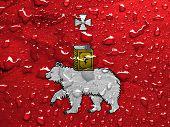 stock photo of perm  - a flag of Perm with rain drops - JPG