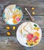 stock photo of kumquat  - Spring vitamin breakfast set - JPG