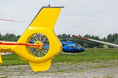 stock photo of fragmentation  - Fragment of the yellow modern new helicopter - JPG