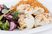 pic of soles  - baked sole fish roll with rice and fresh salad dish - JPG