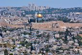 stock photo of israel people  - Urban landscape view of Jerusalem and The Dome of the Rock in Jerusalem Israel - JPG