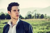 pic of grassland  - Handsome young man at countryside - JPG