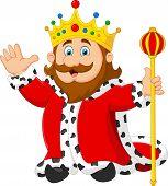 pic of scepter  - Vector illustration of Cartoon king holding a golden scepter - JPG