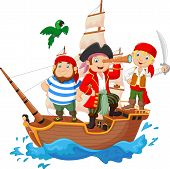 stock photo of pirates  - Vector illustration of Cartoon little pirate was surfing the ocean - JPG