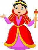 foto of scepter  - Vector illustration of Cartoon queen holding scepter - JPG