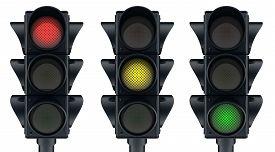 stock photo of traffic signal  - Three traffic lights icon  - JPG