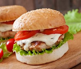 image of tartar  - Appetizing hamburger with chicken burger and sauce Tartar - JPG