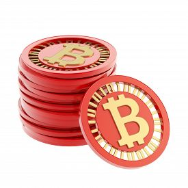 image of bit coin  - Stack of red and golden bitcoin peer - JPG