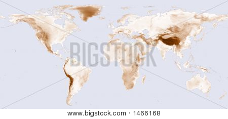 World Map With Brown Shaded Elevation poster