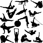 pilates women silhouettes - vector