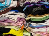 the pile of a few colorful clothes