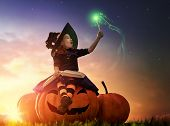 Happy Halloween! Cute cheerful little witch with a magic wand and book of spells. Beautiful child gi poster