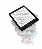 Tablet PC on stack of books