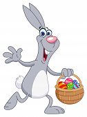picture of easter-eggs  - Vector illustration of a cheerful rabbit with easter basket - JPG
