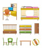 nursery and children room objects, furniture and equipment