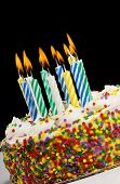 foto of birthday-cake  - A colorful birthday cake with candles - JPG