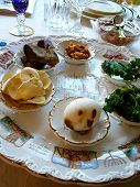 foto of seder  - Traditional Passover Seder Plate in Dining Room - JPG