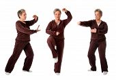 picture of tai-chi  - Beautiful Senior woman doing Tai Chi exercise to keep her joints flexible isolated - JPG