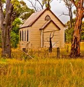 Semi Deserted Wooden Church In The Semi Arid Zone Of The Australian Outback